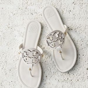 Tory Burch White Leather Miller Sandals